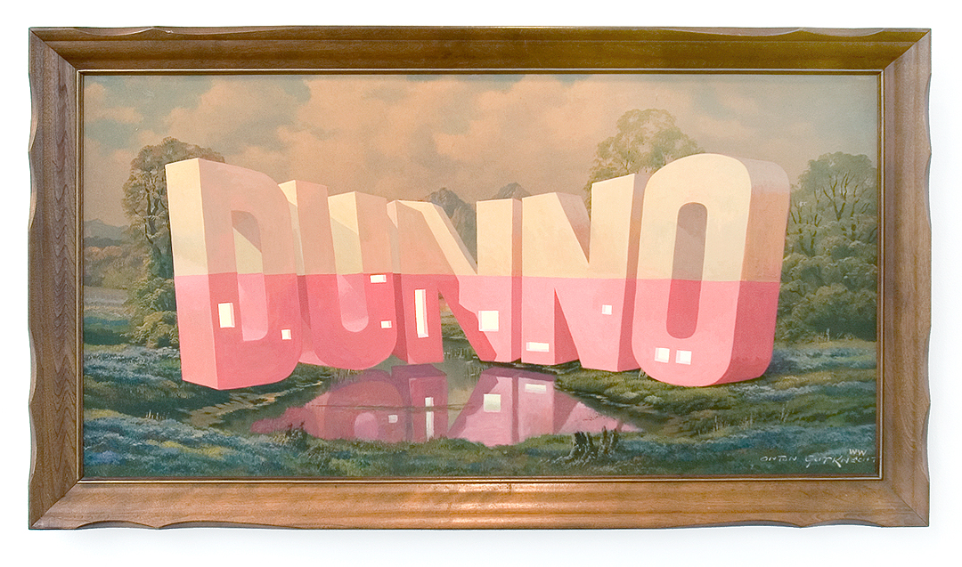 "Wayne White, ""DUNNO"", 2013, acrylic on offset lithograph, framed, 25.5 x 45.5 inches"