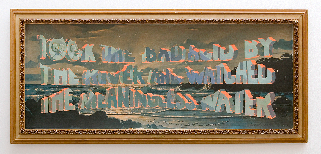 "Wayne White, ""Took The Bad Acid By The River And Watched The Meaningless Water"", 2013, acrylic on offset lithograph, framed, 30 x 66 inches"