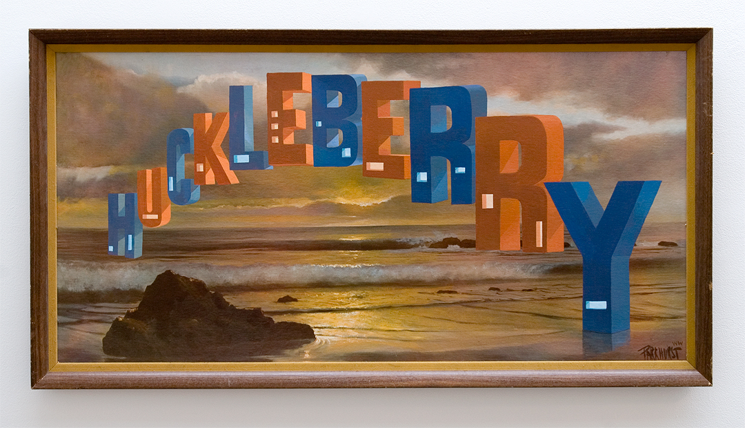 "Wayne White, ""Huckleberry"", 2013, acrylic on offset lithograph, framed, 27 x 51 inches"