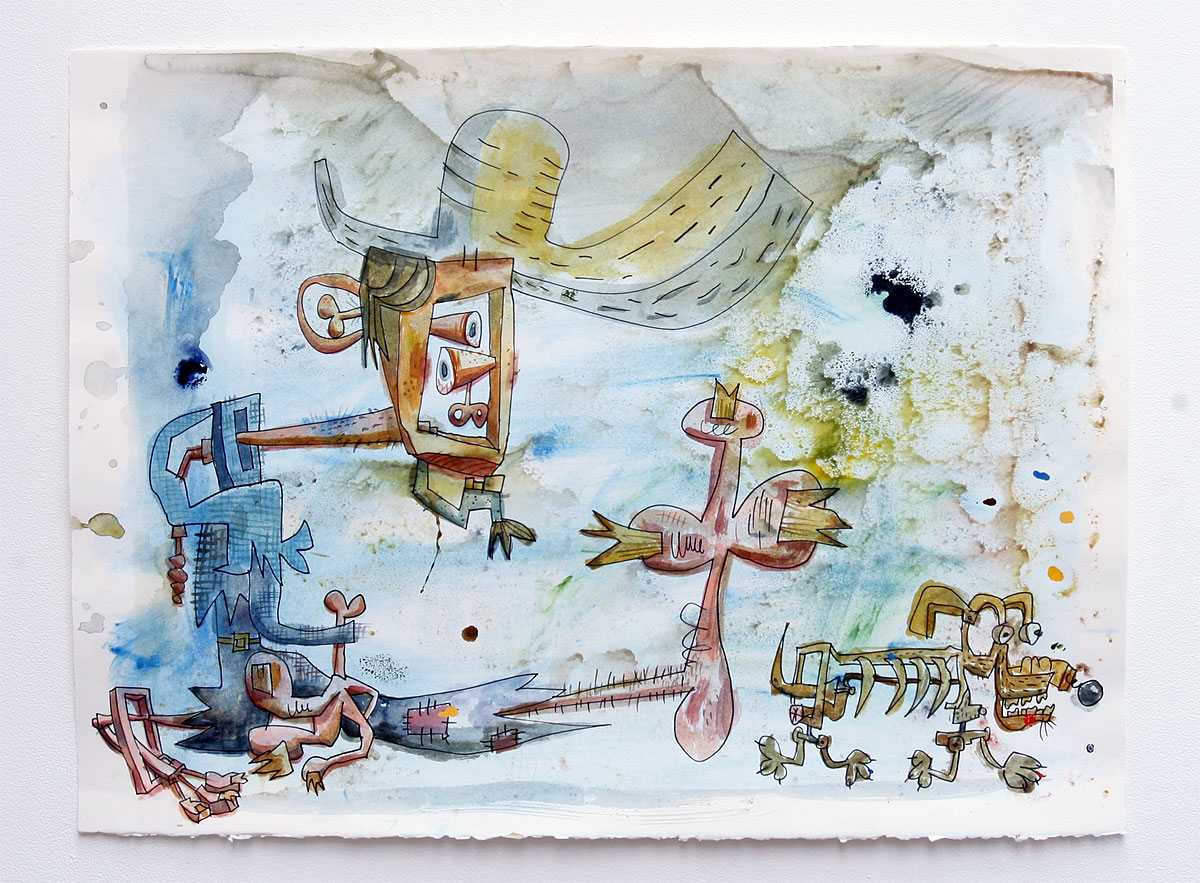 Wayne White, Untitled - Captiva 2013, 2013, watercolor, acrylic, colored pencil on paper, 22.5 x 30 inches
