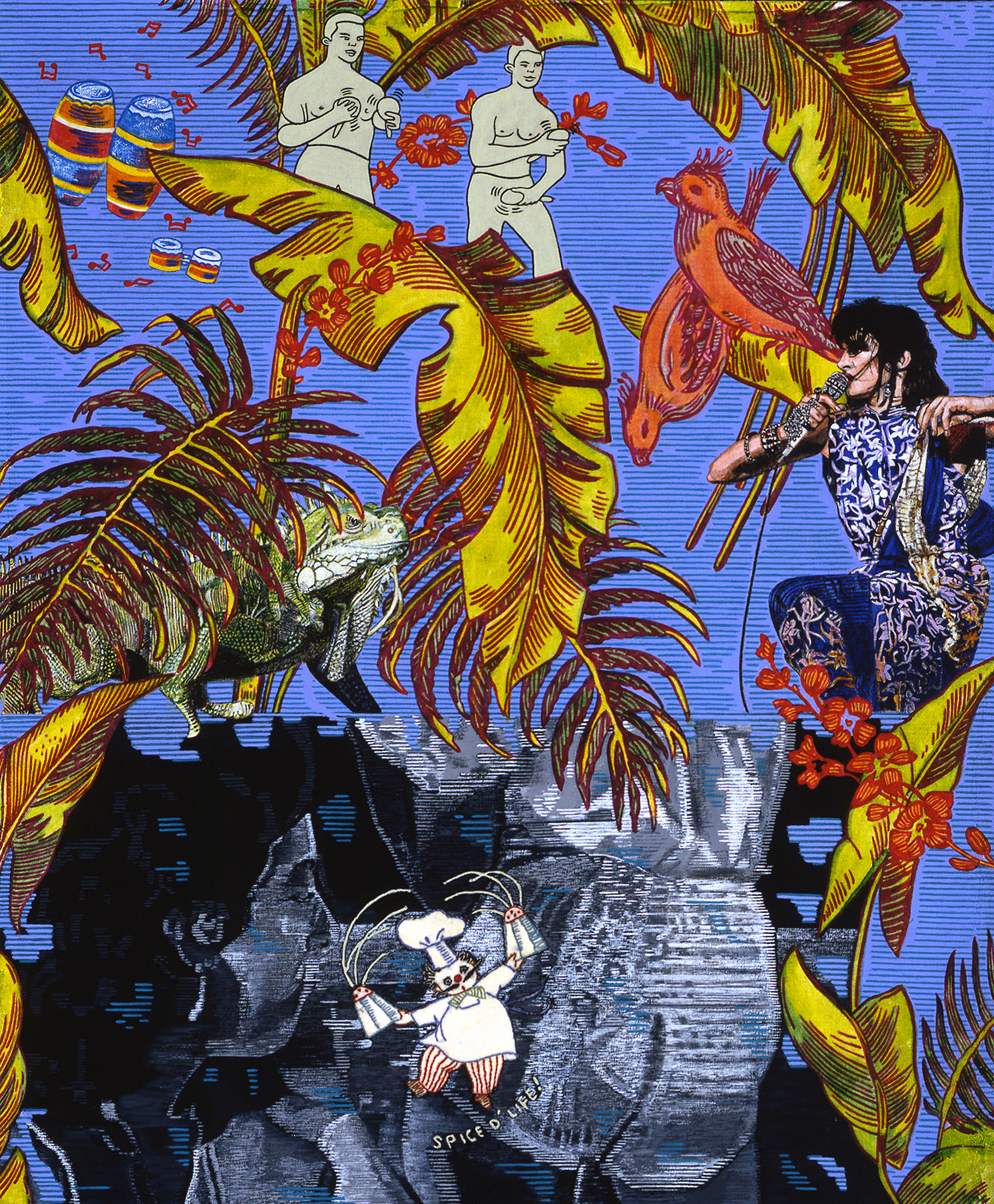 "Carole Caroompas, ""Psychedelic Jungle: Teenage Medea and the Cha Cha Boys"", 2002, acrylic on found embroidery over panel. 33 x 26 inches"