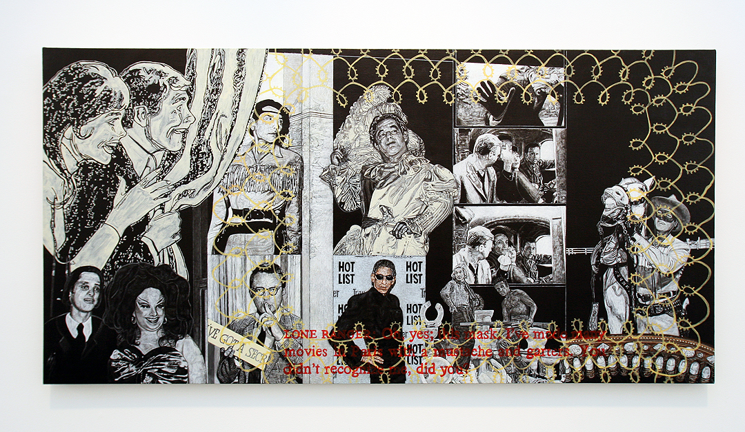 "Carole Caroompas, ""Uncle Lenny and the Masked Men"", 2011, acrylic on canvas over panel, 36 x 72 inches"