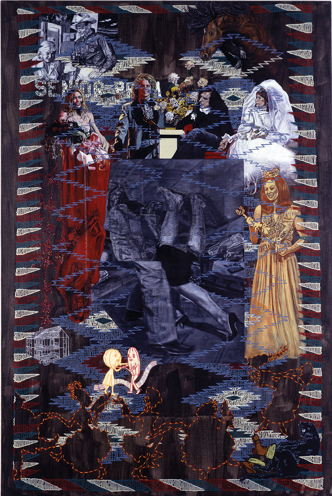 "Carole Caroompas, ""Dancing With Misfits: Eye-Dazzler: Watch Out For Those Pretty Little Feet"", 2006, acrylic on found embroidery over canvas, 52 x 34.5 inches"