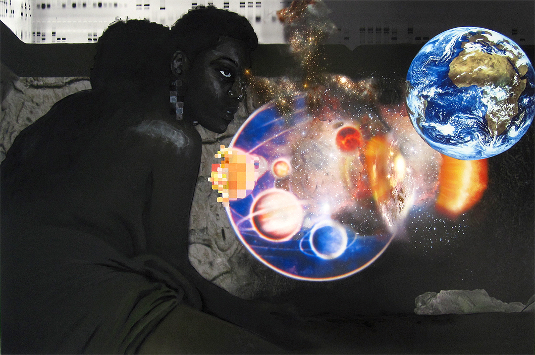 "Jessica Wimbley, ""Big Bang"", 2012, charcoal, grahpite, gouache, digital C-print on matte paper, 36 x 48 inches"