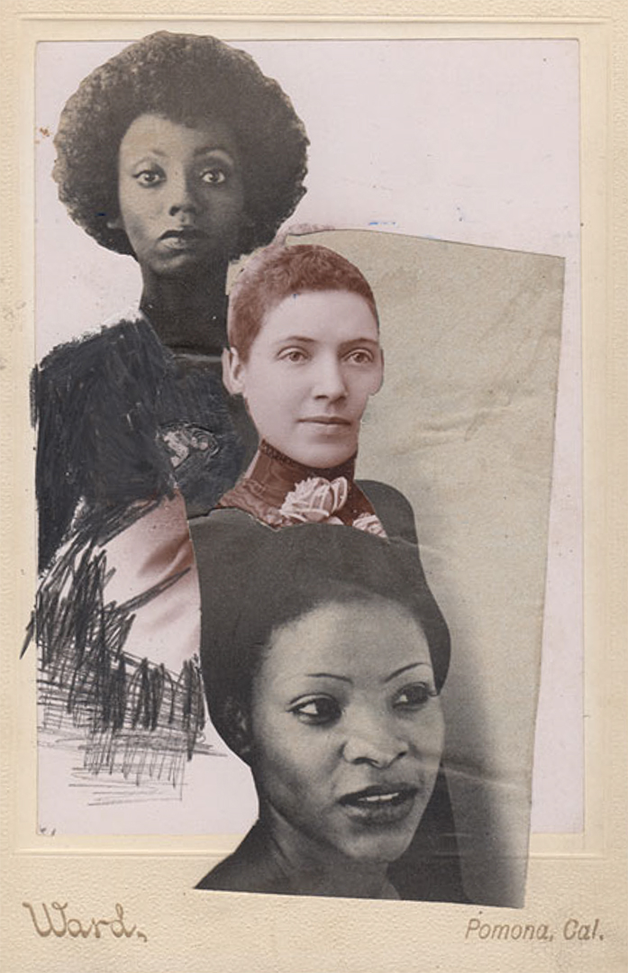 JESSICA WIMBLEY, Cabinet Card Collage with April 1977 Ebony Mixed Media, 2014, 7 x 5 inches
