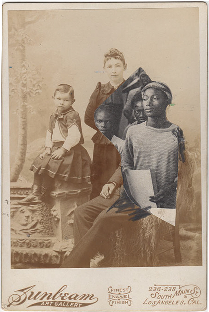 JESSICA WIMBLEY, Cabinet card collage with April 1977 Ebony, mixed media, 7 x 5 inches