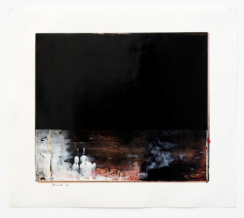 DANIEL BRICE, Untitled (Black), 2014, oil on paper, 20 x 16 inches