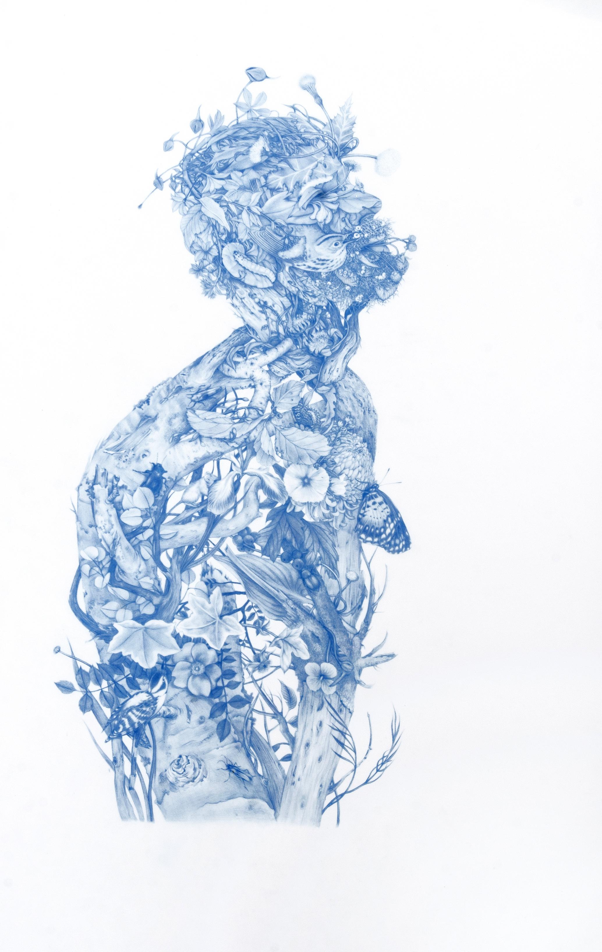 Zachari Logan, Green Man, 2014 blue pencil on mylar, 28 x 18 inches