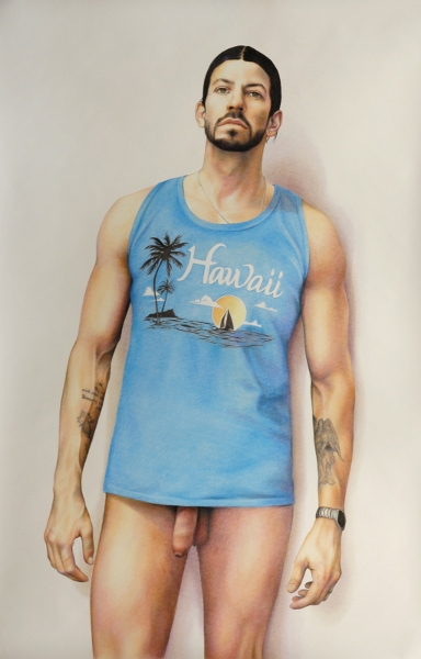 ZACHARI LOGAN, Tank-Top 1, 2009, pastel on paper, 42 x 65 inches