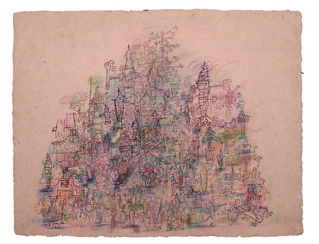 WAYNE WHITE, Violet Sand Mountain, 2011, ink, watercolor on paper, 20 x 25.5 inches