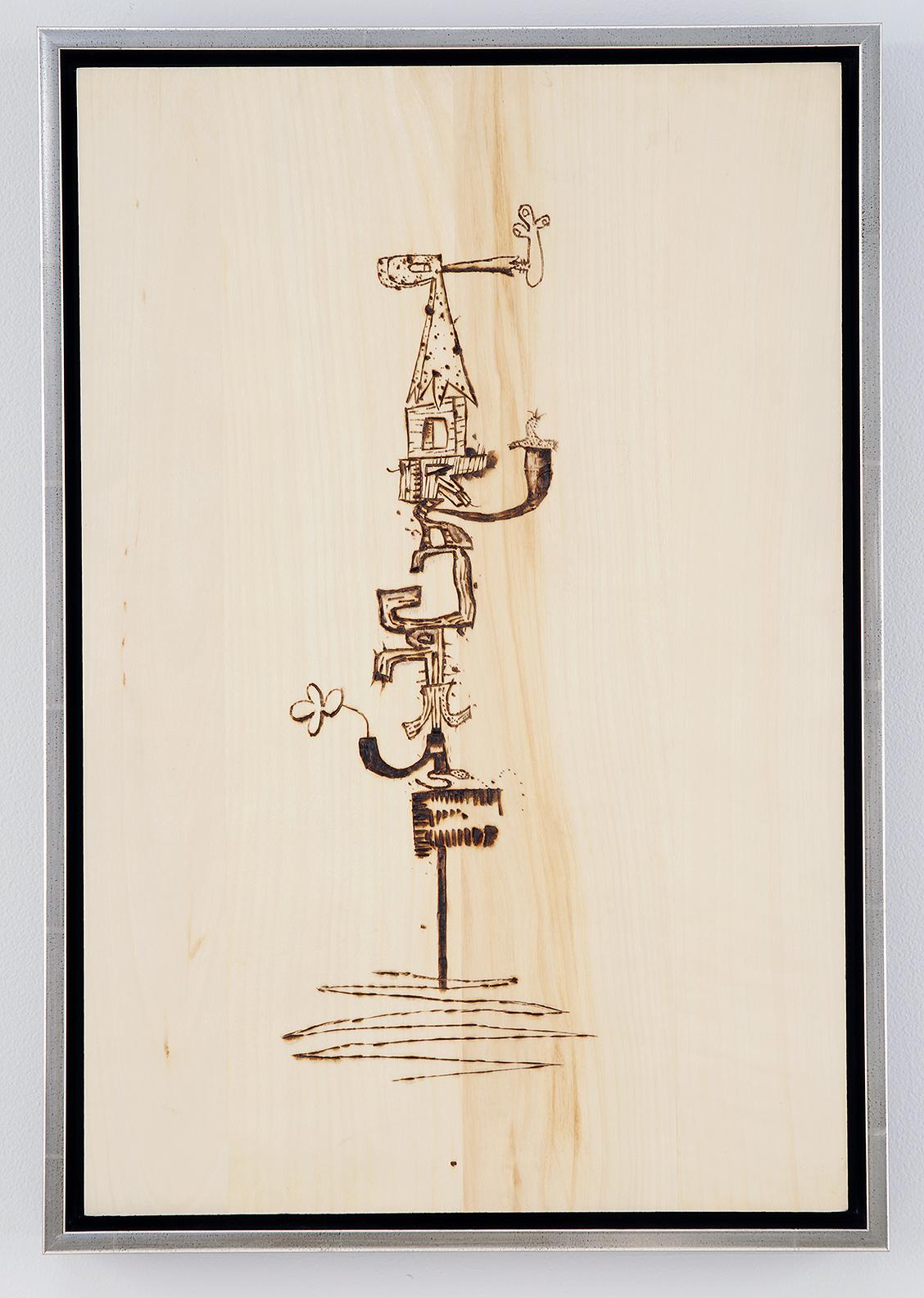 WAYNE WHITE, Pork Grease, 2008, wood burning, framed, 18 x 12 inches