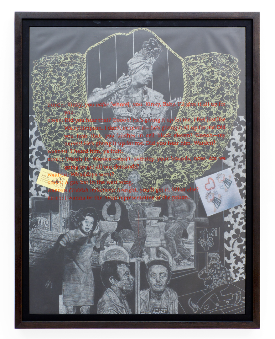 CAROLE CAROOMPAS, Uncle Lenny: Right As Wrong and Wrong As Right: Gay Men, 2011 prisma color on layered vellum with collage 30 x 22 inches
