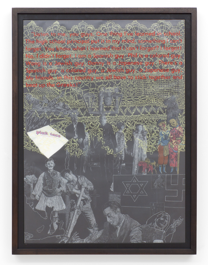 Uncle Lenny: Right As Wrong and Wrong As Right: Greeks, 2011 prisma color on layered vellum with collage 30 x 22 inches