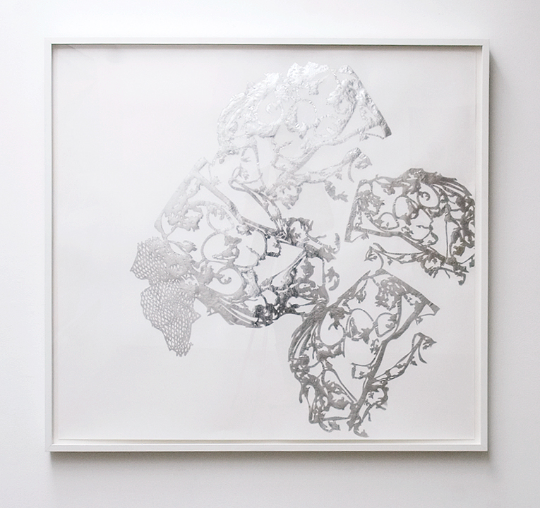 MARGARET GRIFFITH, Mill, 2014, Foil on paper, 42 x 45 inches / 45 x 48.75 inches framed