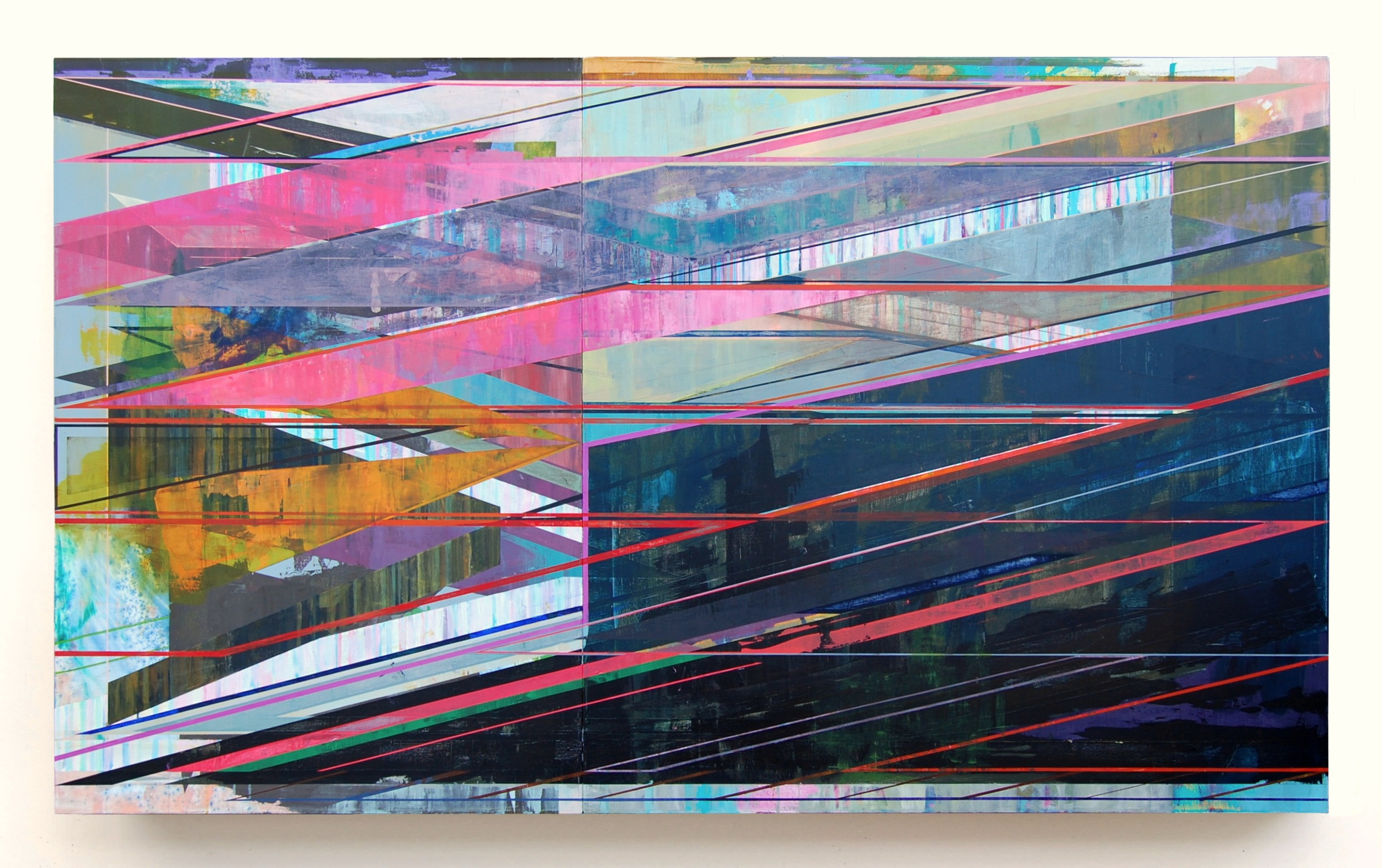 JOE LLOYD, Slant, 2016, acrylic on canvas, 56 x 96 inches