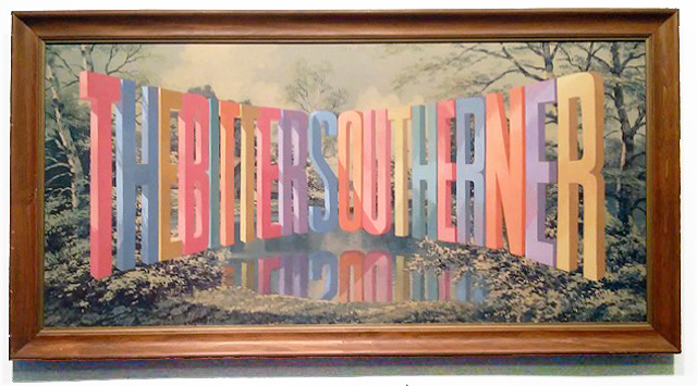 Wayne White, The Bitter Southerner, 2016, acrylic on offset lithograph, framed, 26 x 50 inches