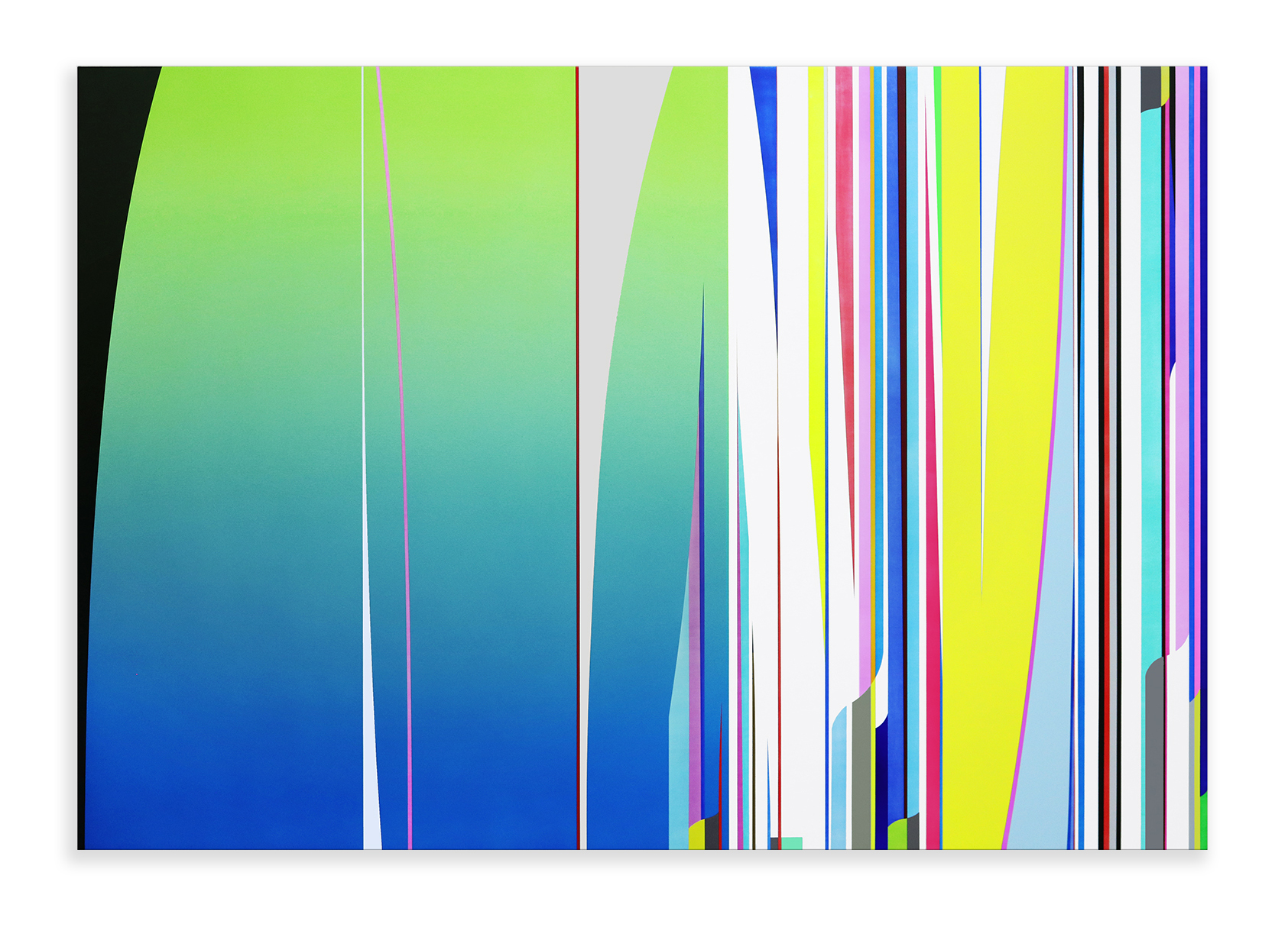 Dion Johnson, Dream Racer, 2017, acrylic on canvas, 48 x 72 inches