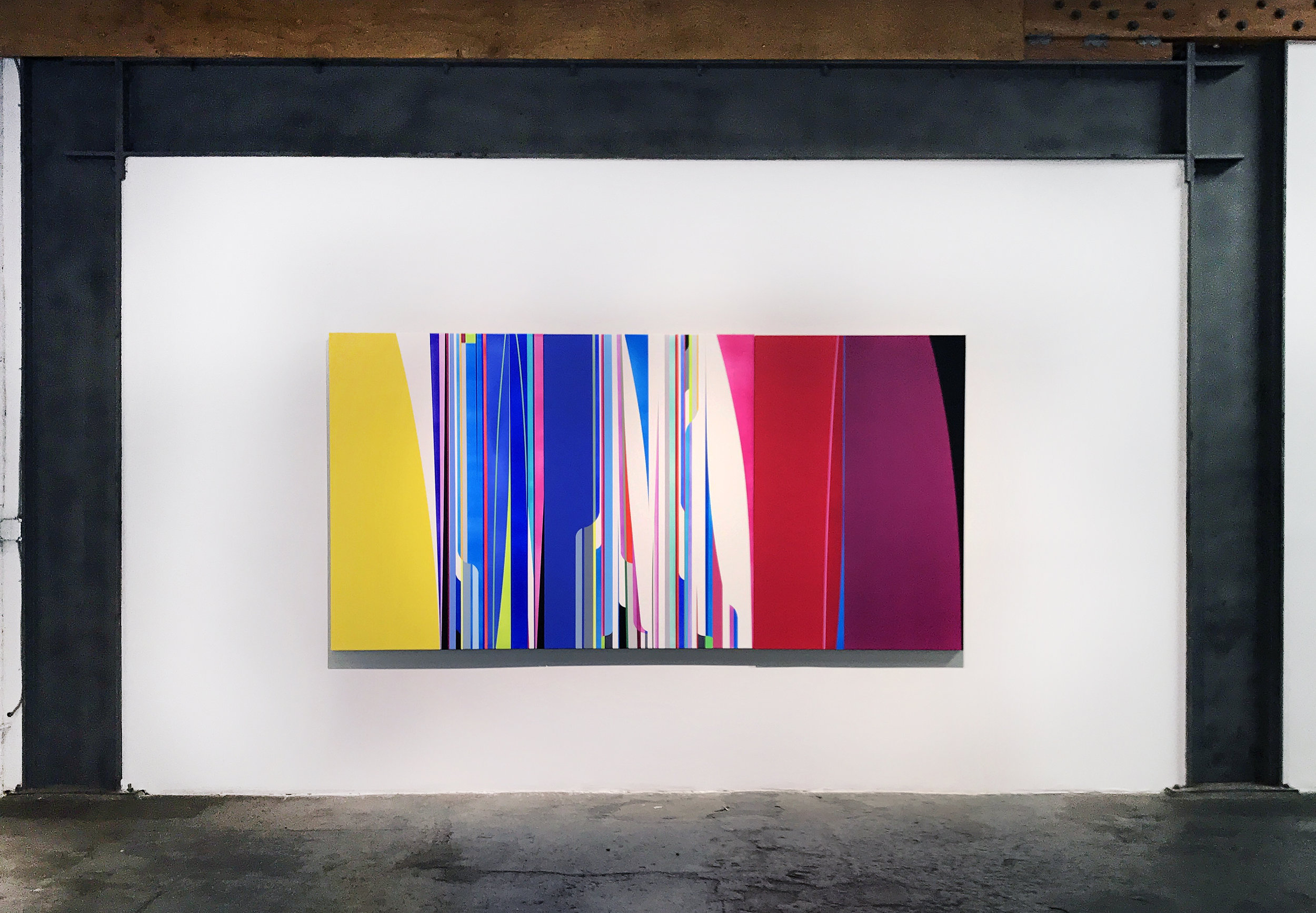 Dion Johnson, Time Traveller, 2017, acrylic on canvas, 60 x 120 inches