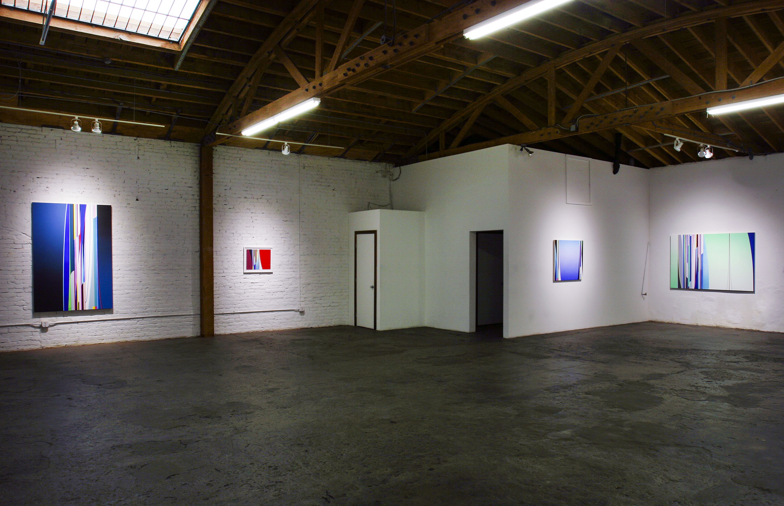 Left to Right: Dion Johnson, Disguise, 72 x 48 inches; Isotope, 16.25 x 20.75 inches; Zero Gravity, 32 x 36 inches; Terraformation, 48 x 72 inches