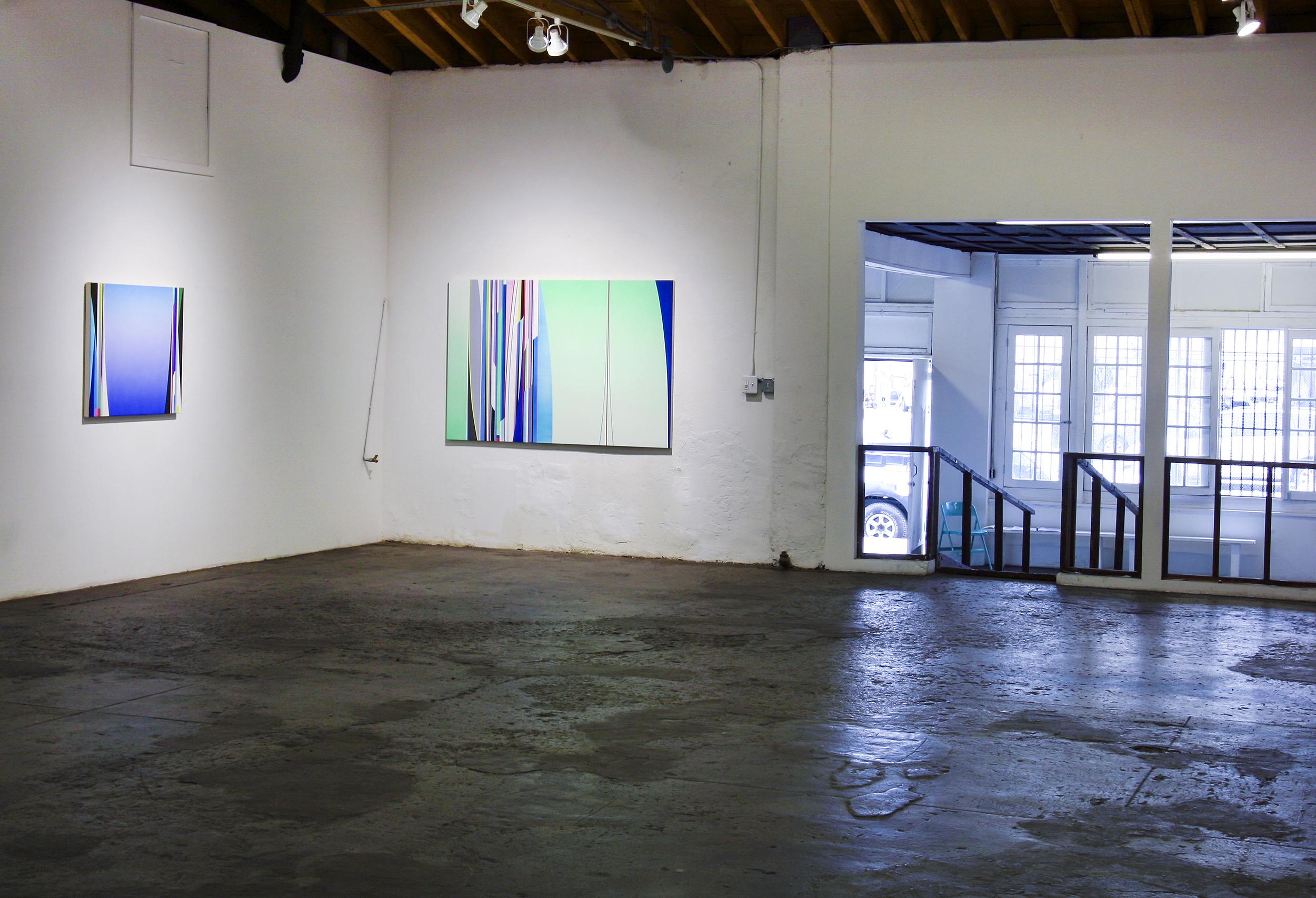 Left to Right: Dion Johnson, 2017: Zero Gravity, 3 x 36 inches; Terraformation, 48 x 72 inches