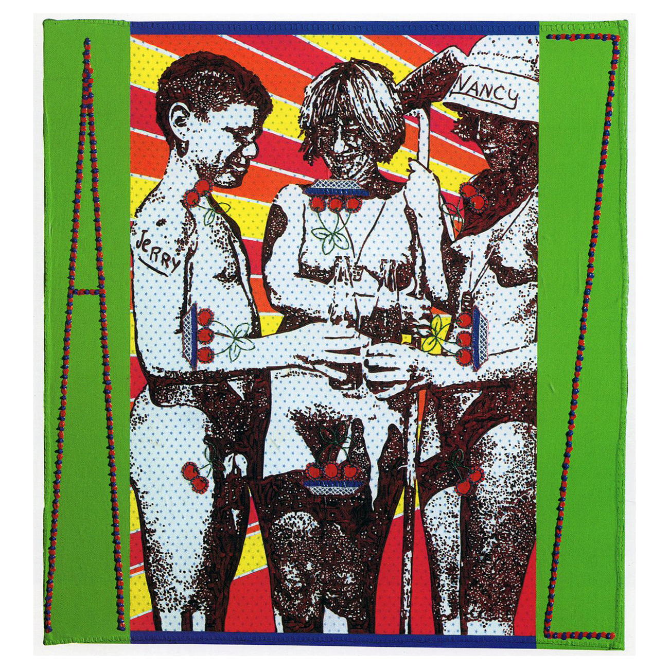 Carole Caroompas, Hester and Zorro: In Quest of a New World: Brave New World, 1997, acrylic on found embroidery on canvas, 36 x 33.5 inches