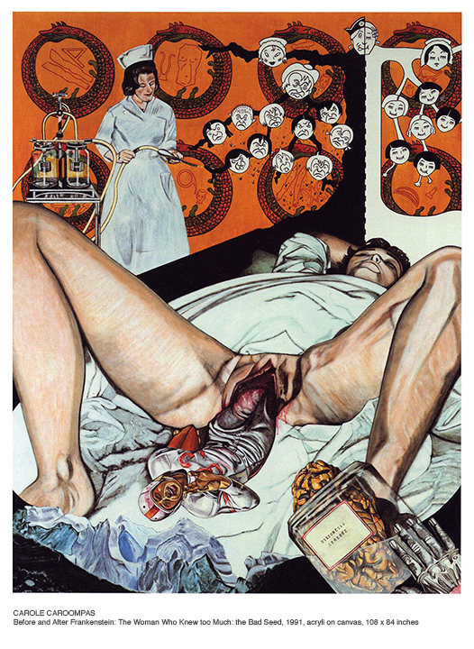 Carole Caroompas, Before And After Frankenstein: The Woman Who Knew Too Much: The Bad Seed, 1991, acrylic on canvas, 108 x 84 inches