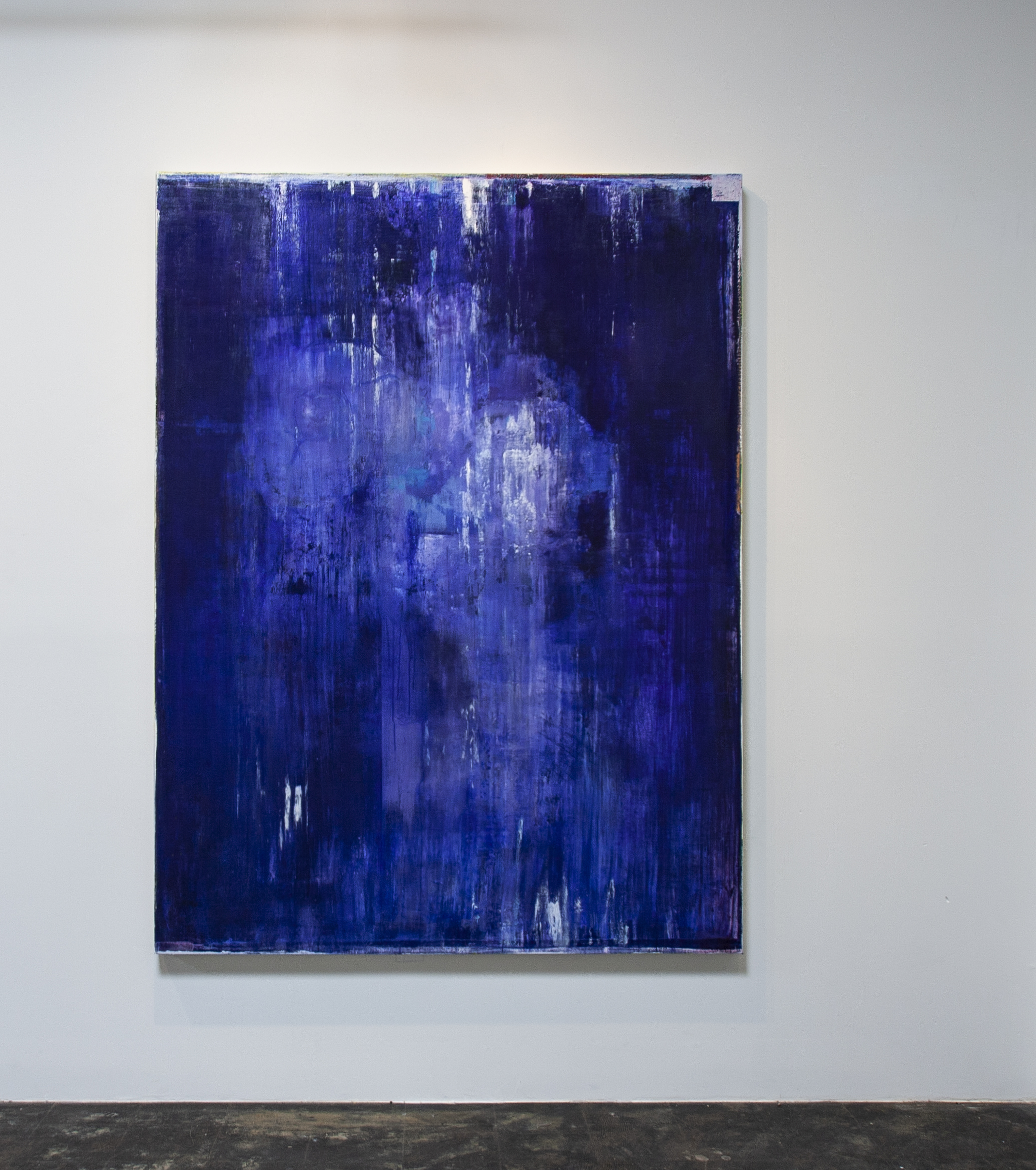 Daniel Brice, Polaroid Painting (Blue/Violet), 2018, acrylic and oil on canvas, 84 x 60 inches