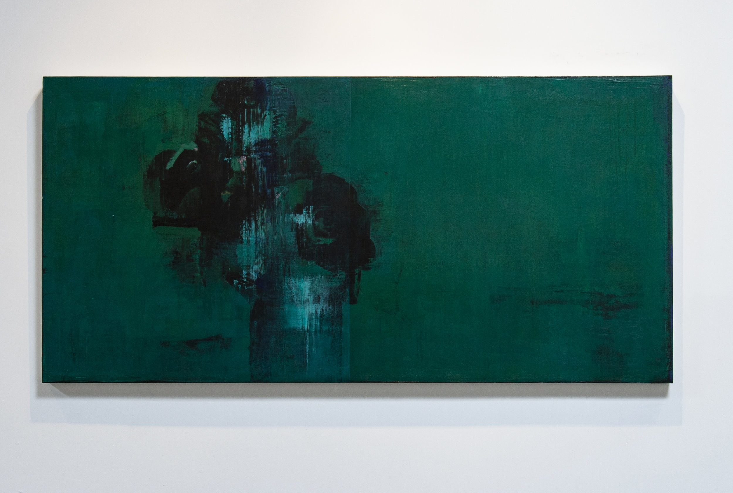 Daniel Brice, Polaroid Painting (Green), 2018, acrylic and oil on canvas, 38 x 78 inches