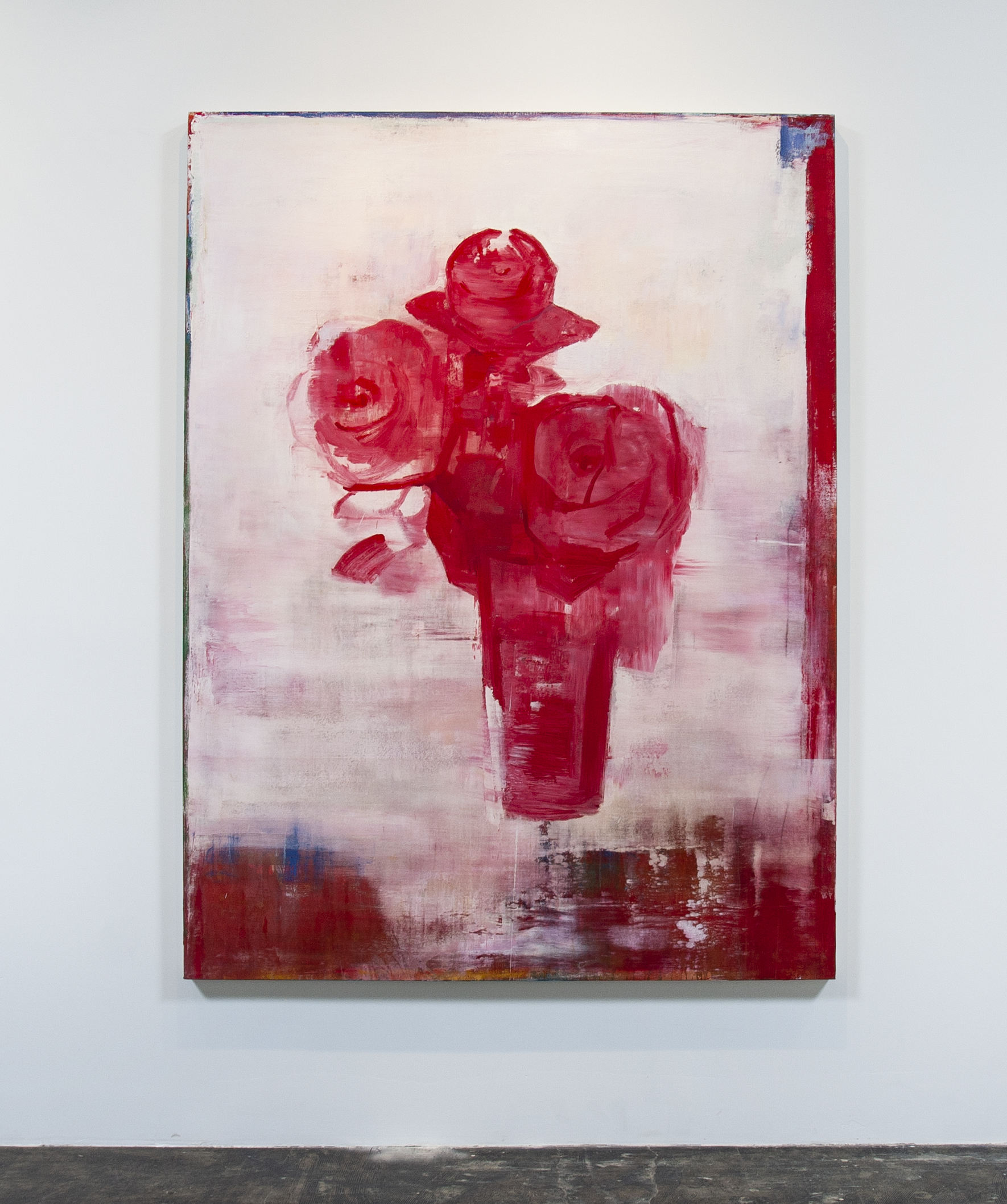 Daniel Brice, Polaroid Painting (White/Red), 2018, acrylic and oil on canvas, 84 x 60 inches