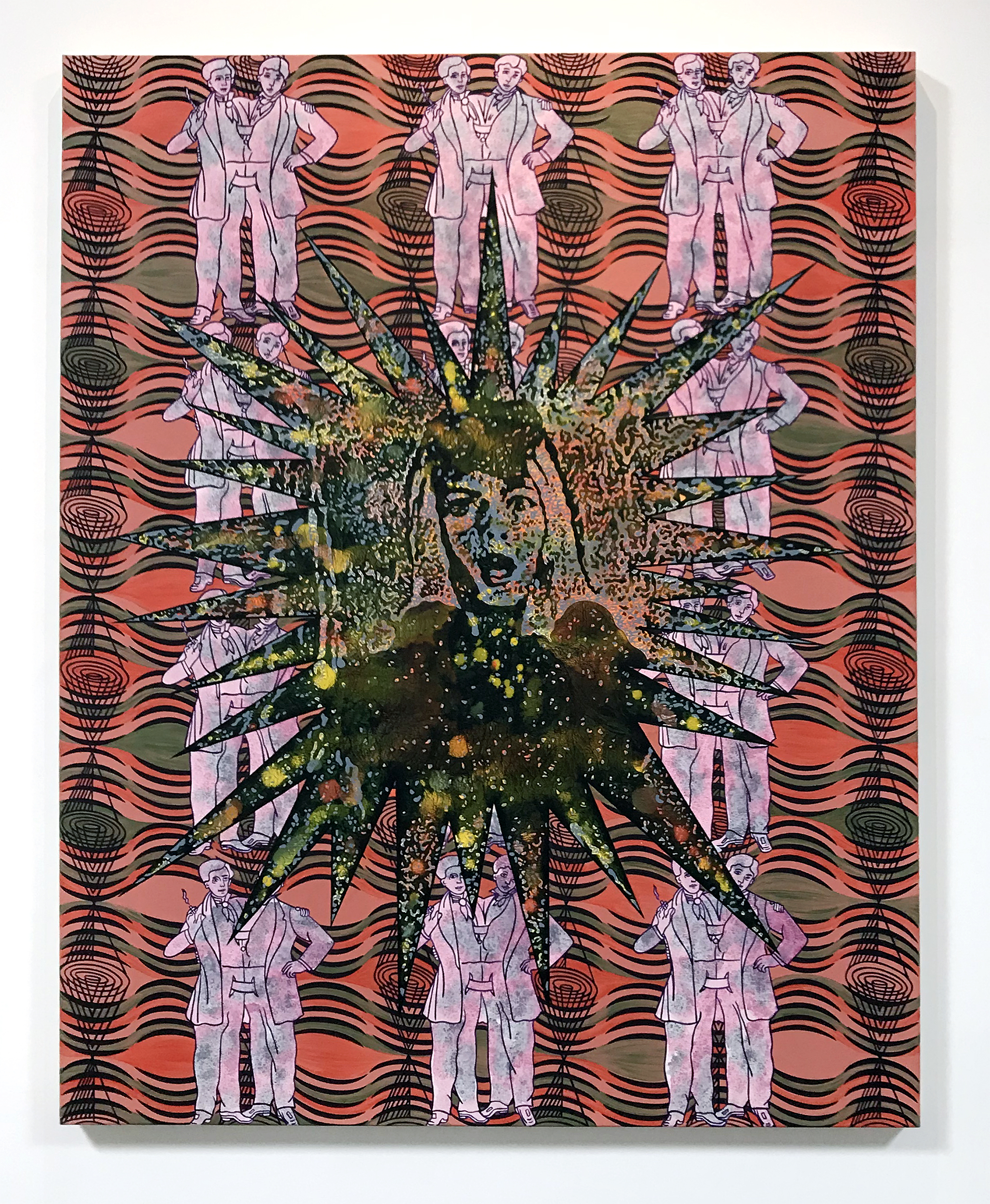 Carole Caroompas, Before and After Frankenstein: The Woman Who Knew Too Much: Spectre and Emanation,  1994, acrylic on canvas, 60 x 48 inches