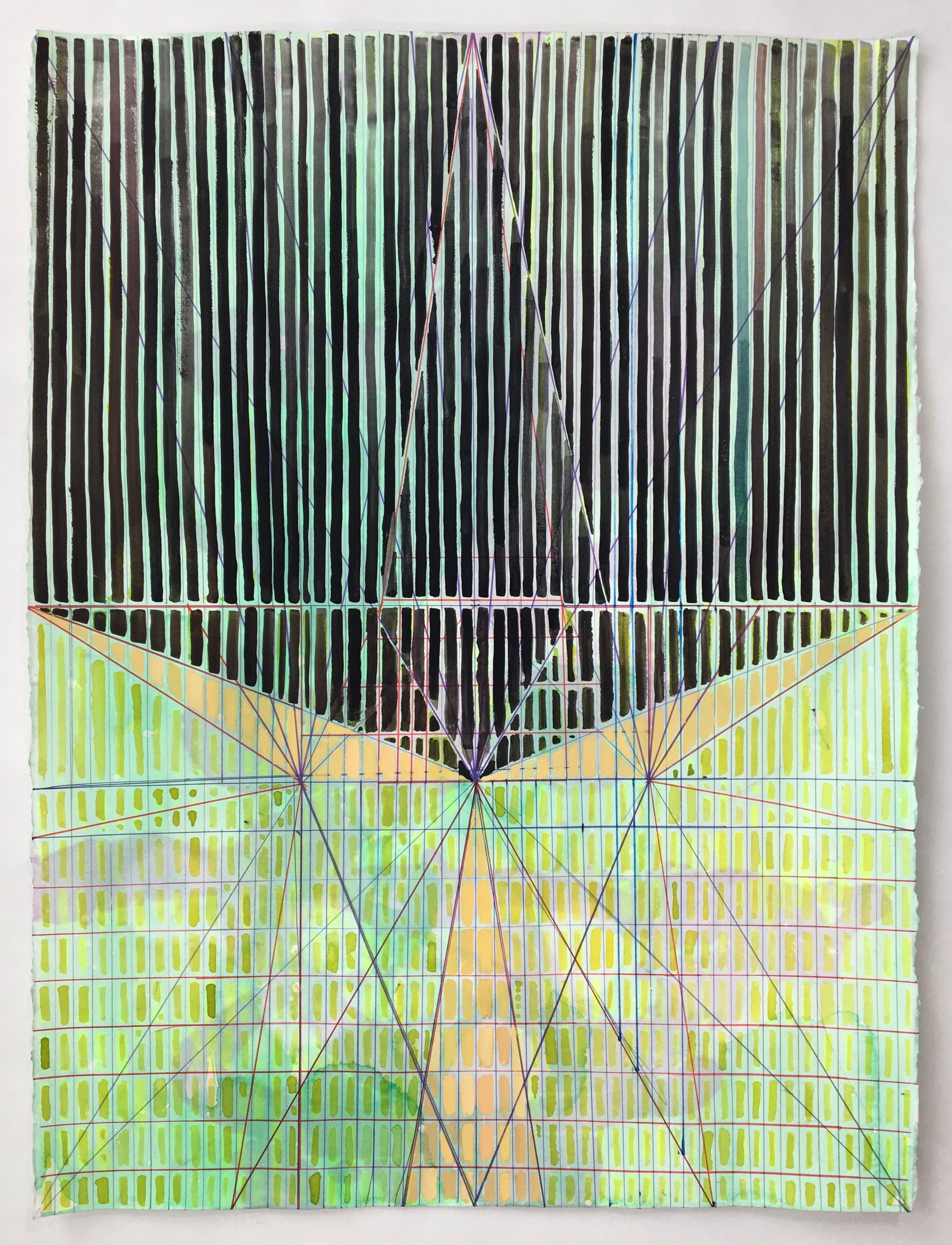 Joe Lloyd, Black Pattern, 2017, watercolor, acrylic on paper, 30 x 22 inches