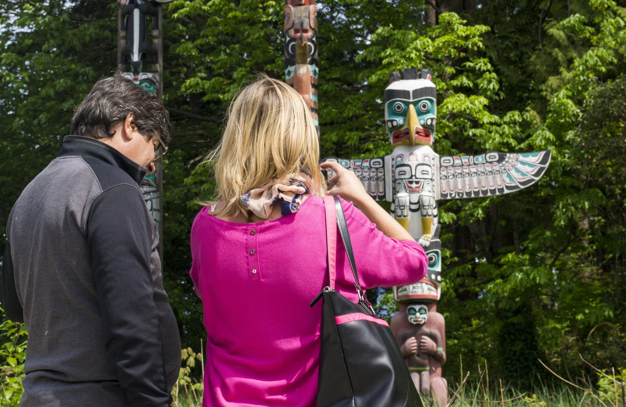 Stanley Park totem poles in Vancouver.