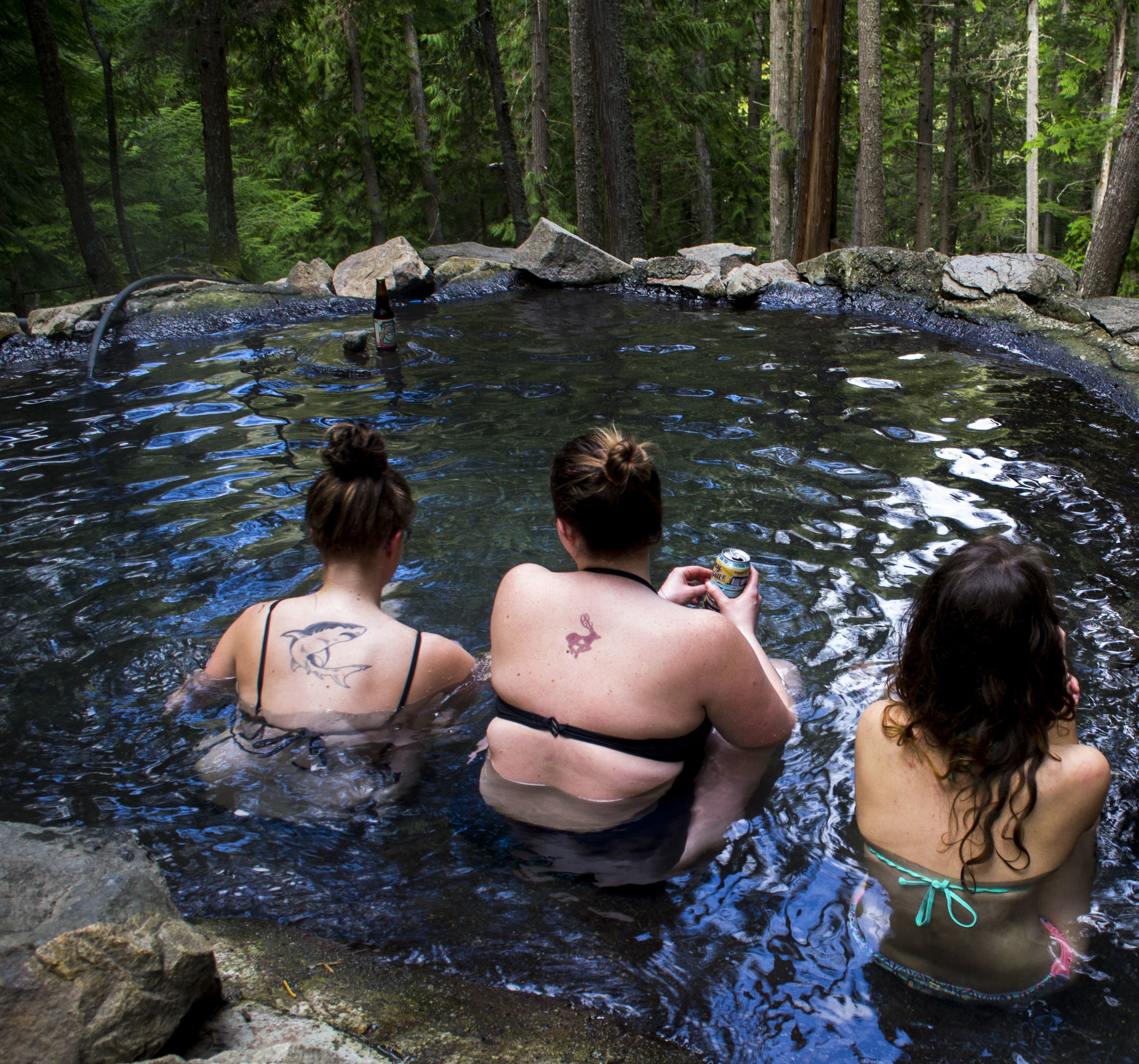 Visit hotsprings on your Canada ski trip.