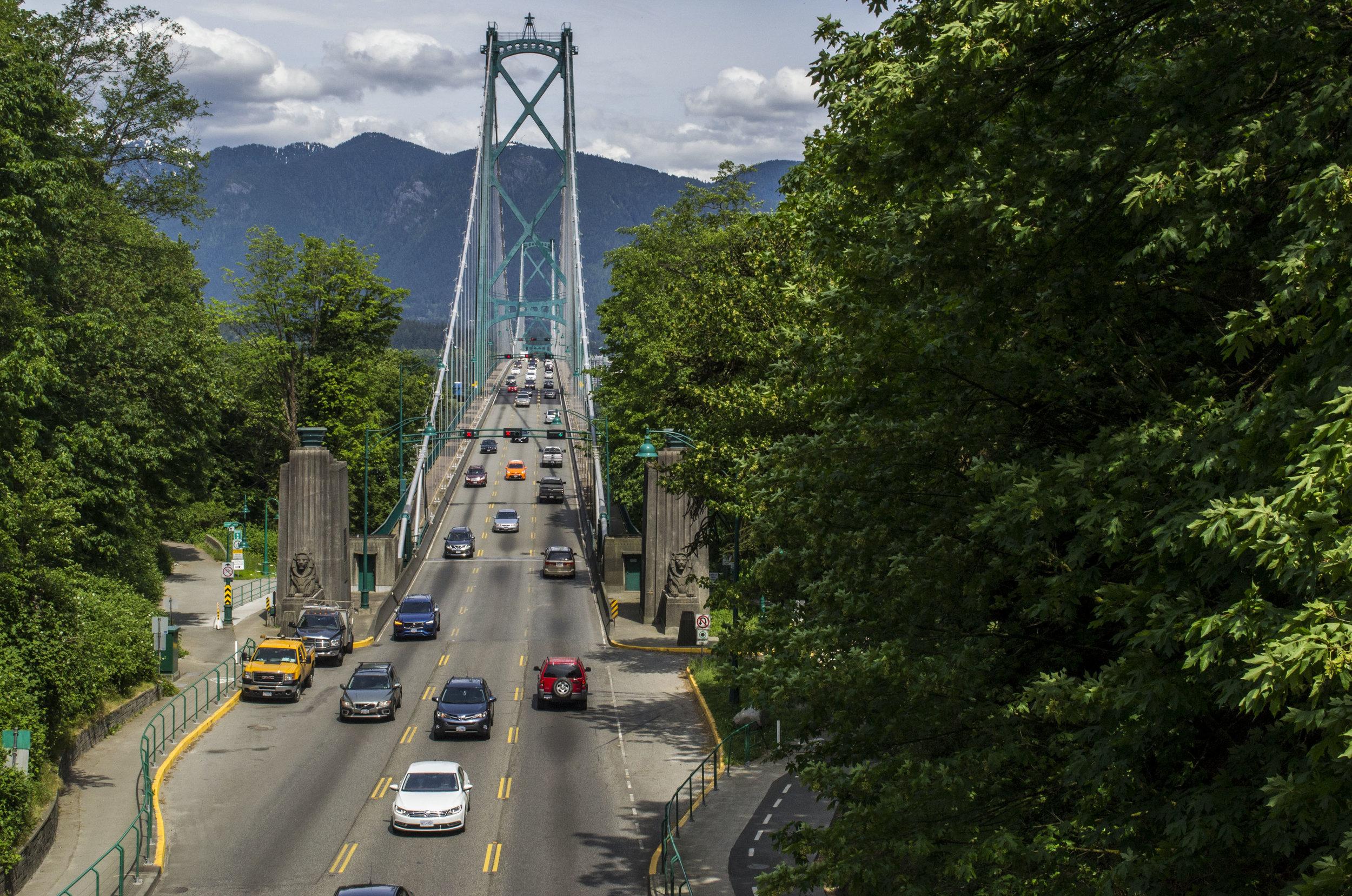 Lions gate bridge during a Vancouver bike adventure