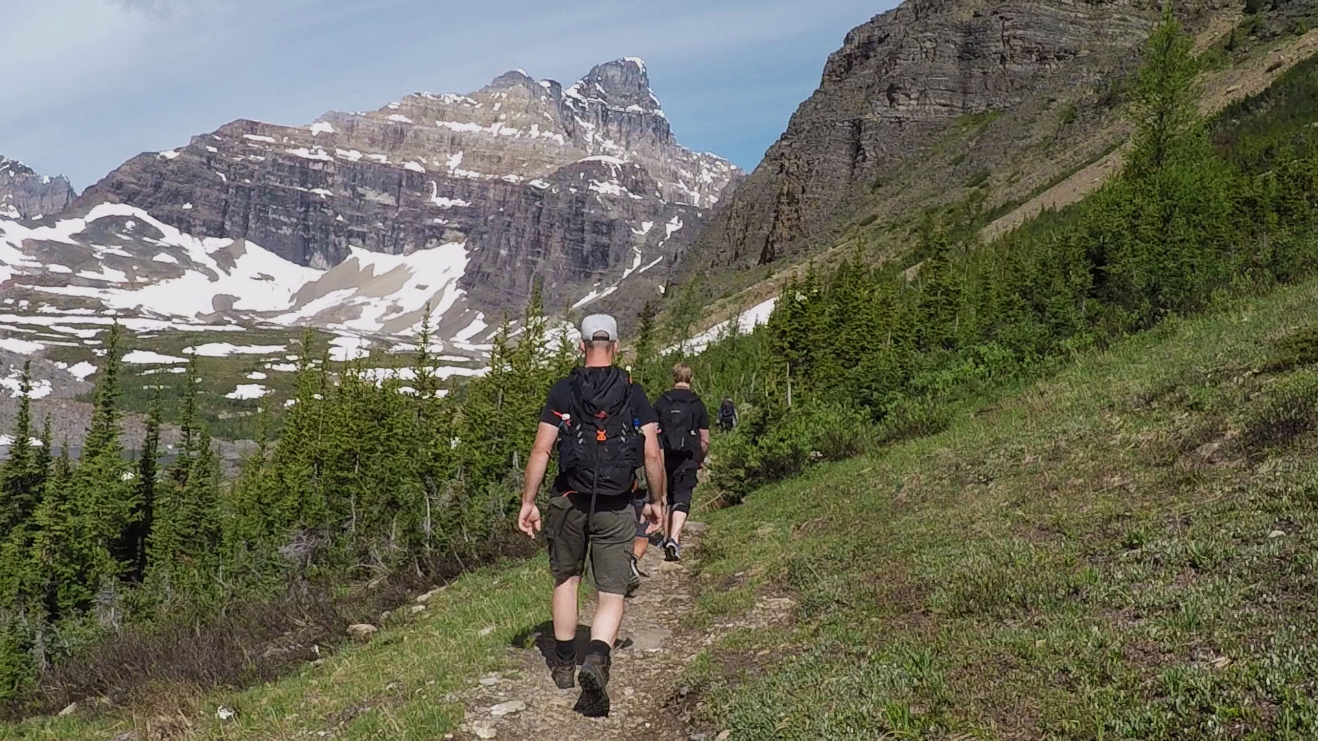 Hiking on a guided tour of the Rockies.