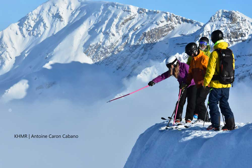 Guided group ski tour on the Powder highway