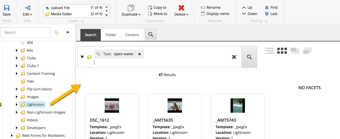 Keyword image search within the Media Library -- Lightroom originated images