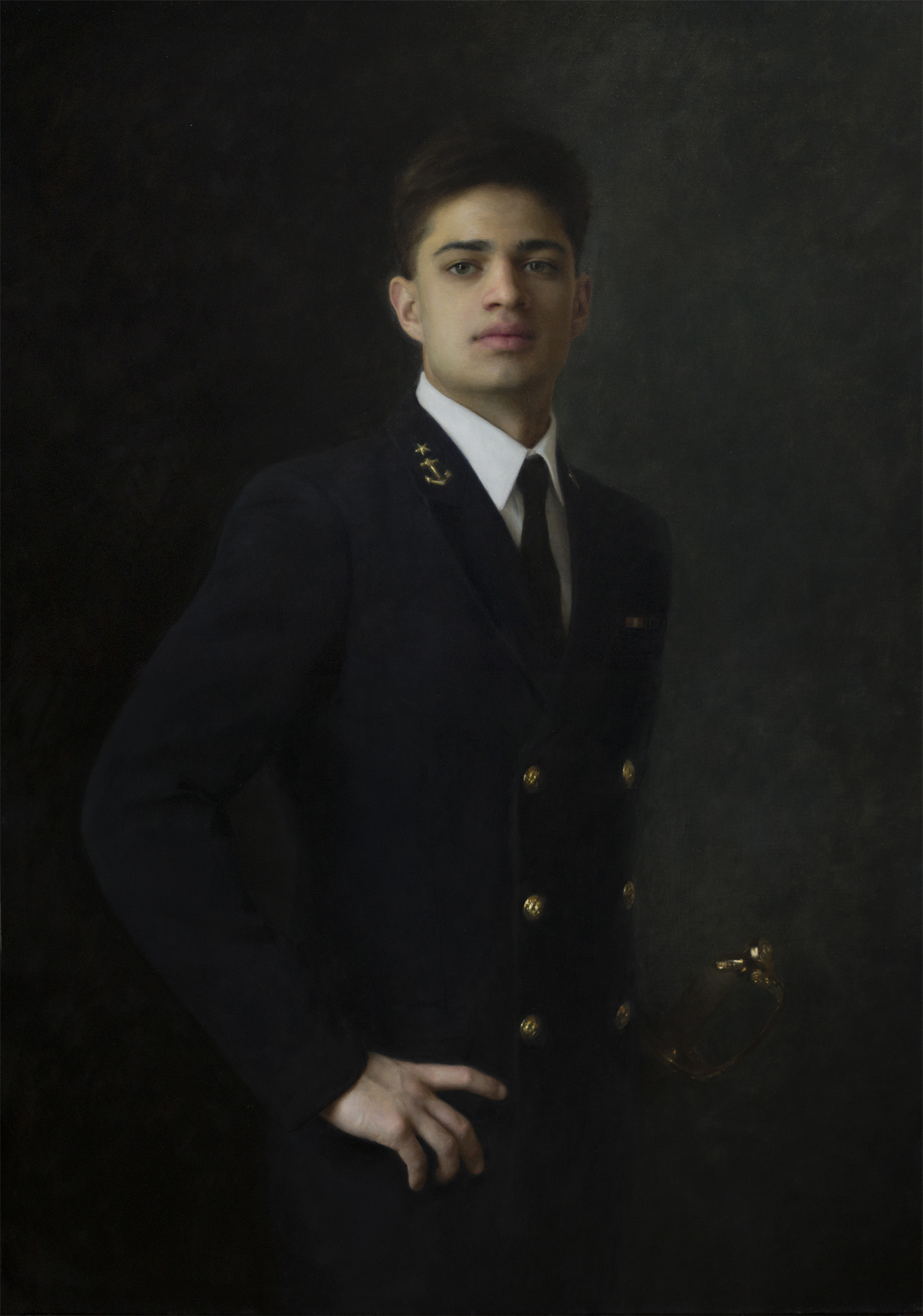 Midshipman, US Naval Academy  - 42x30, oil on linen