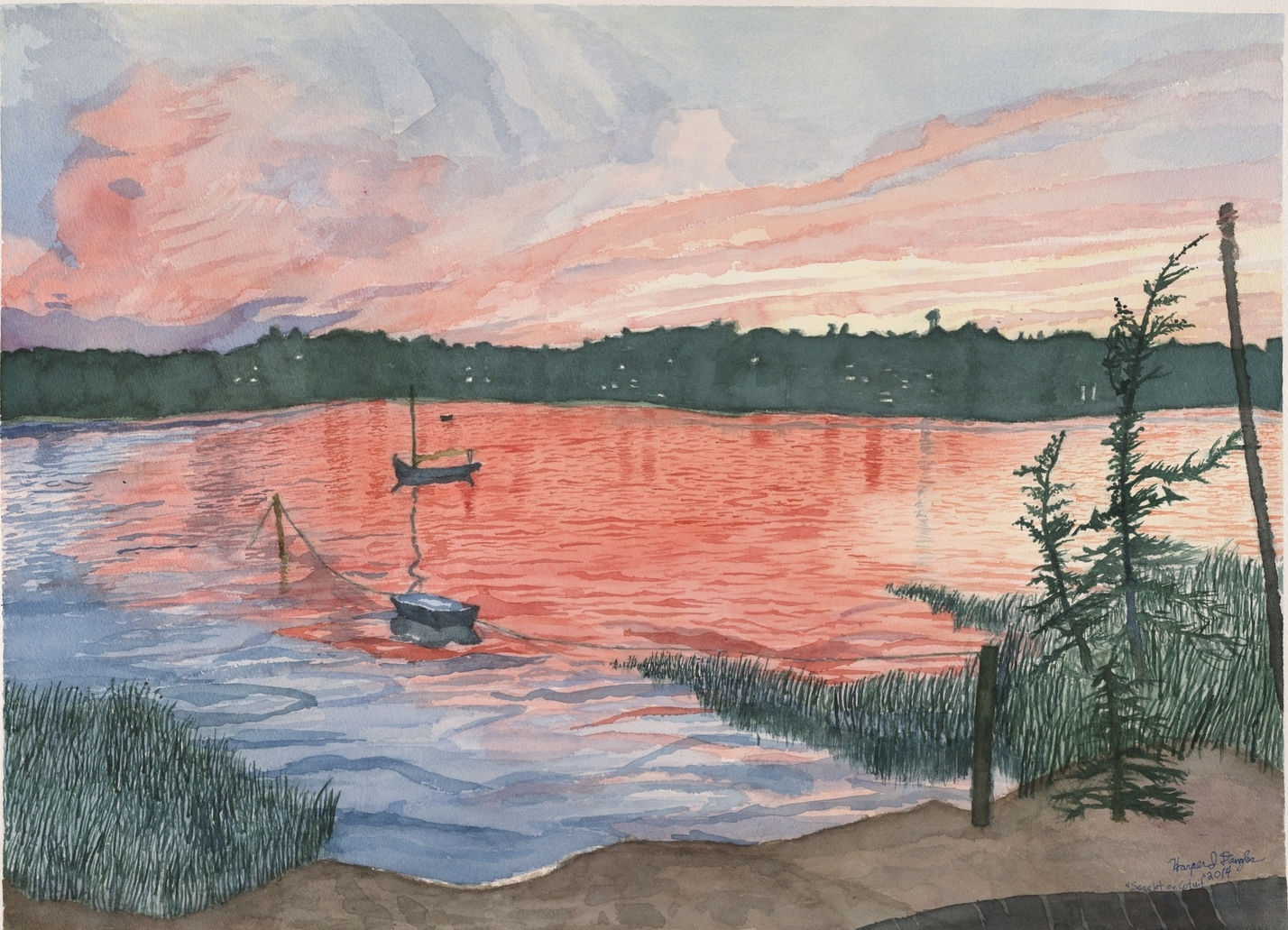 "Scarlet over Cotuit Bay, 22.5"" by 30"", watercolor on paper"