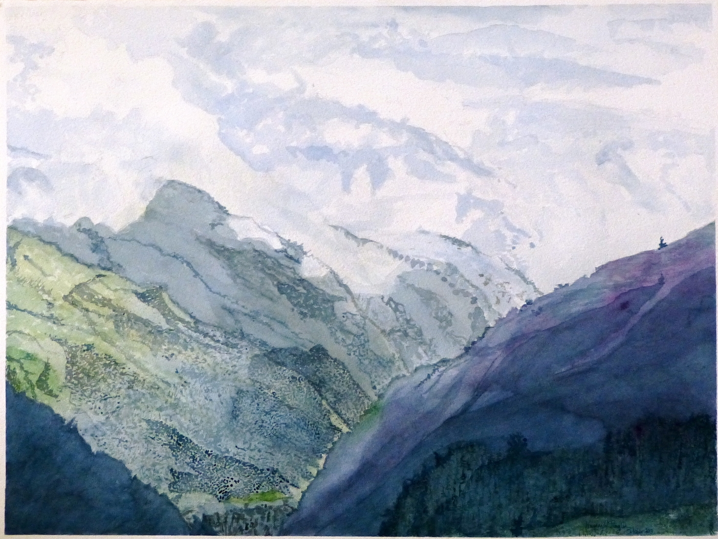 "The Majesty of the Andes, 22.5"" by 30"", watercolor on paper"