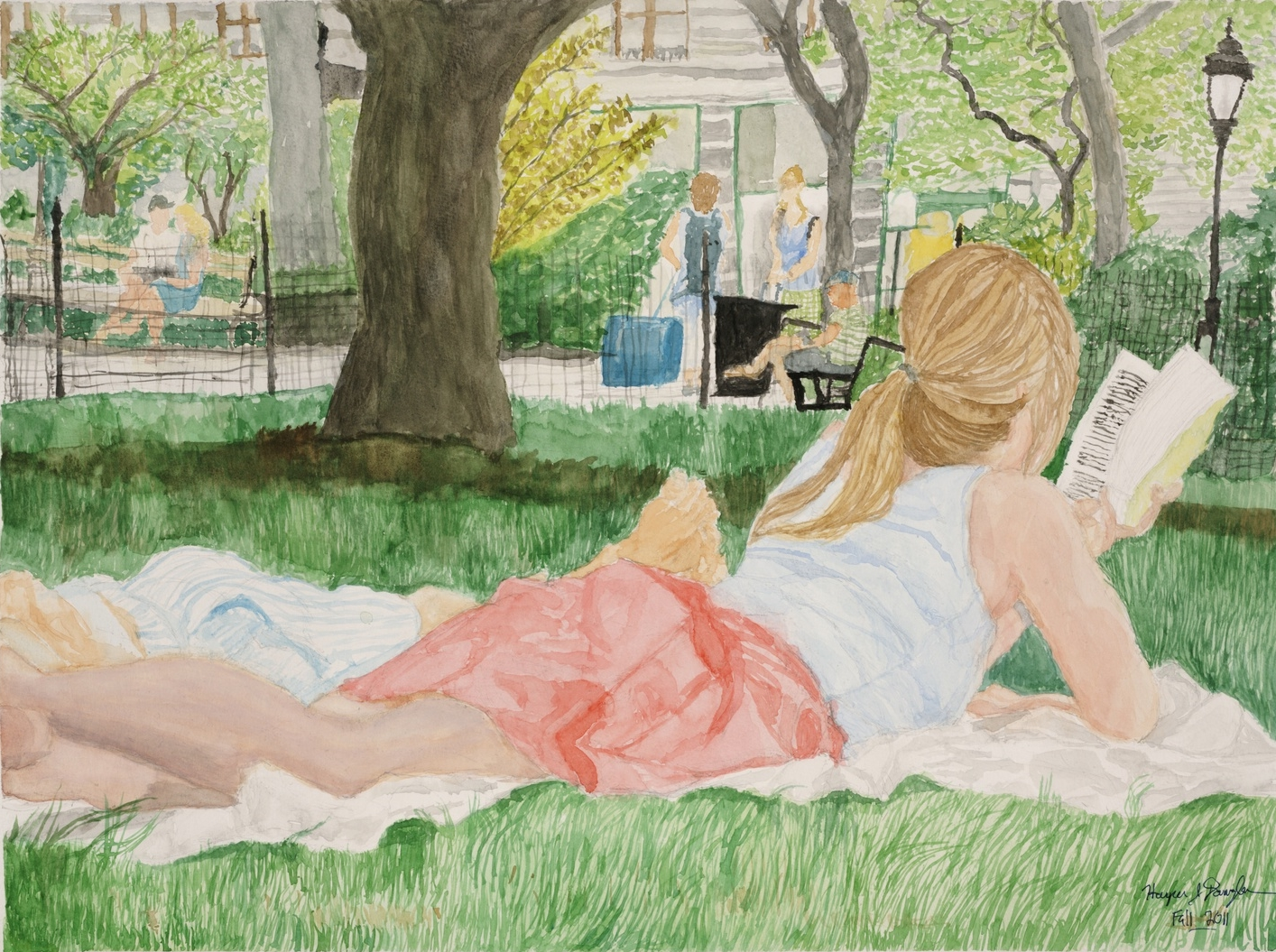 "Summer Reading in Madison Sq Park, 18"" by 24"", watercolor on paper"
