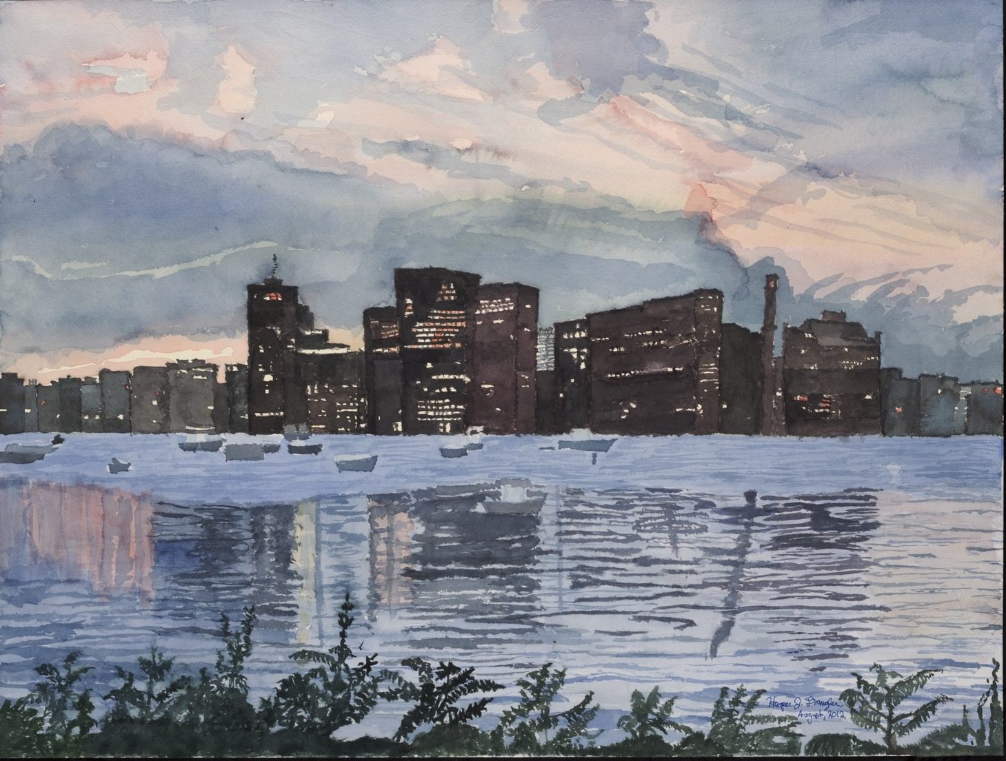 "Sunset over the Charles River, 18"" by 24"", watercolor on paper"