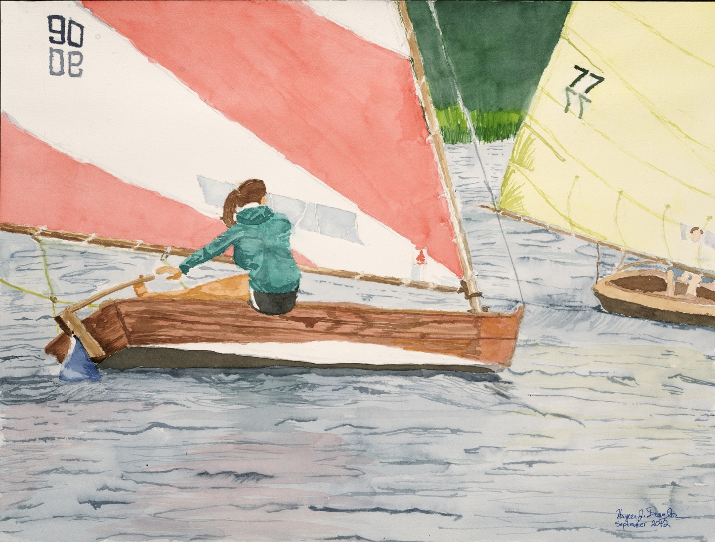 "Girl Racing on Cotuit Bay, 18"" by 24"", watercolor on paper"