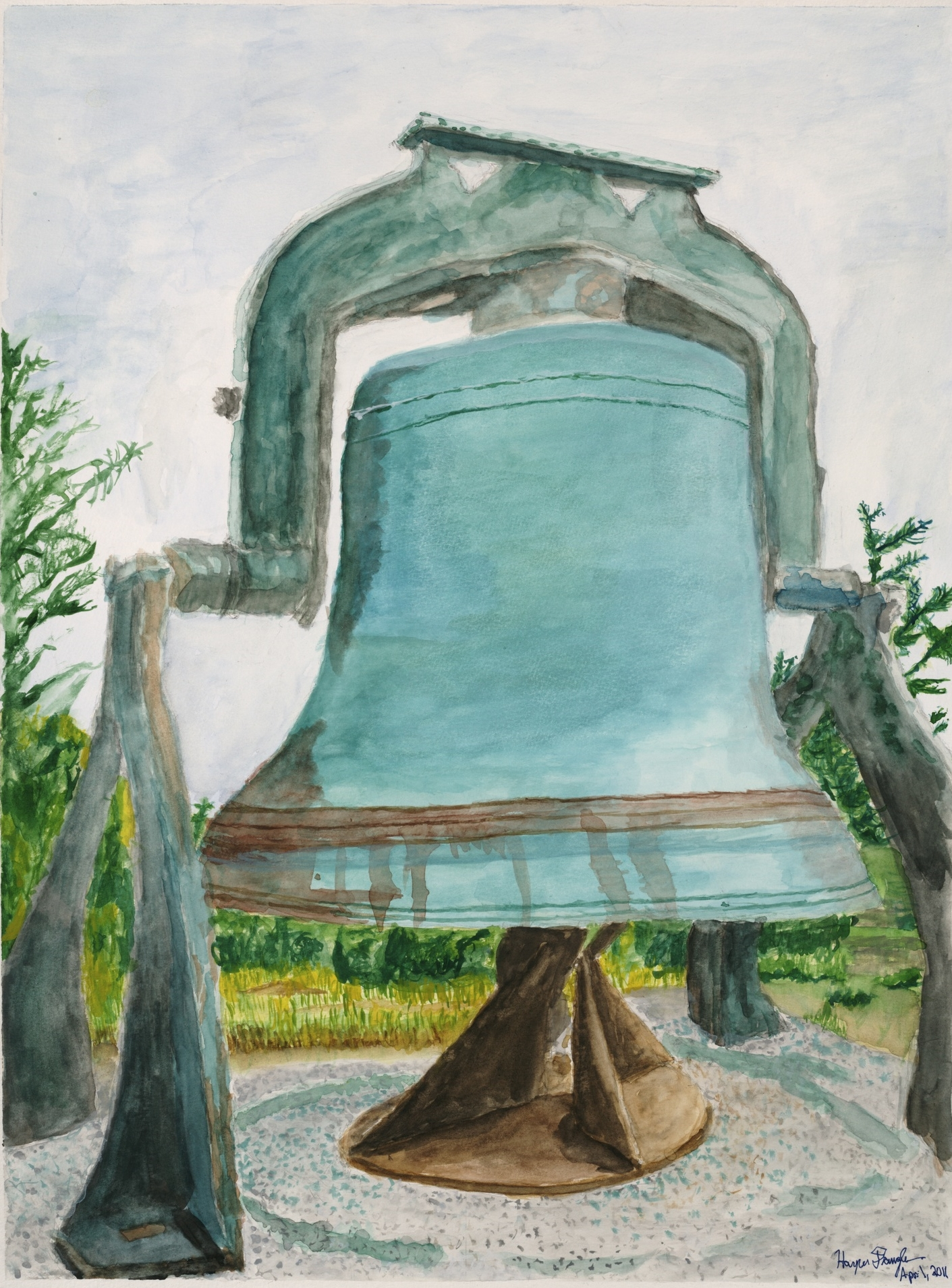 "The Old Bell atop Monhegan, 18"" by 24"", watercolor on paper"