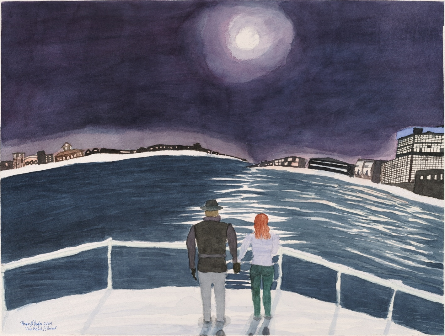 "Our Moonlit Harbor, 22.5"" by 30"", watercolor on paper"