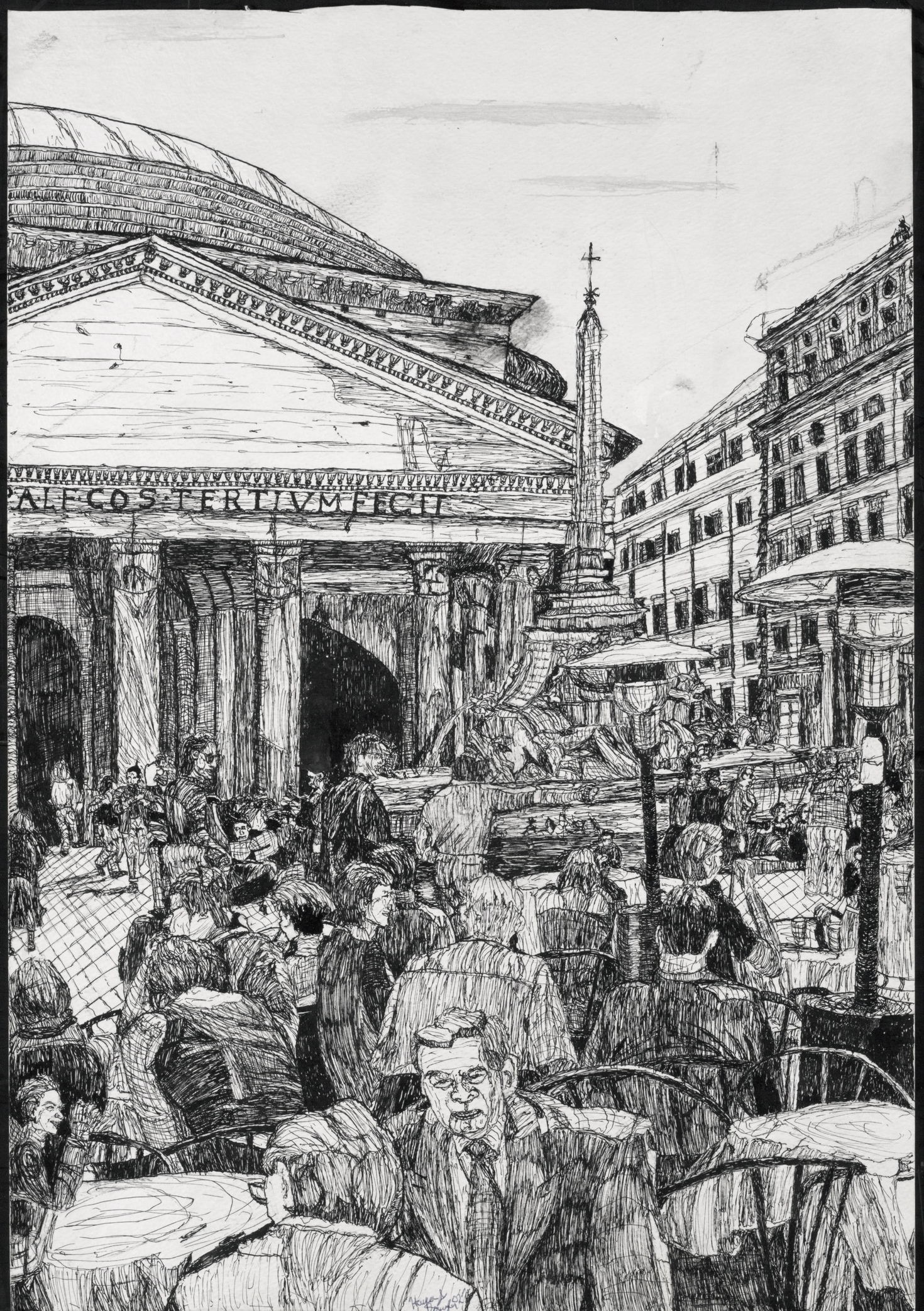 """Café outside the Pantheon, 15"""" by 21.7"""", Pen and ink on paper"""