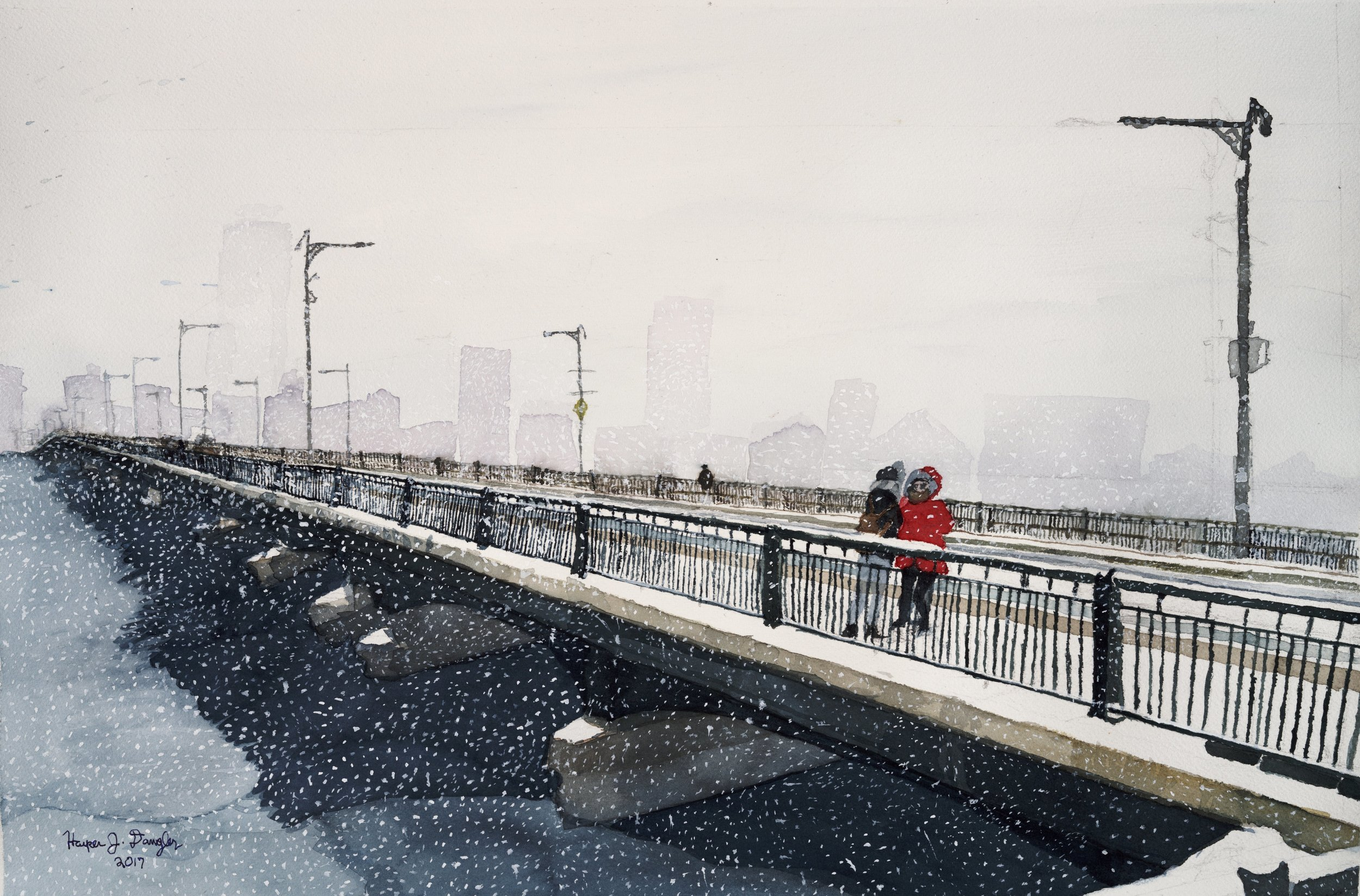 Bridge to a Wintry City