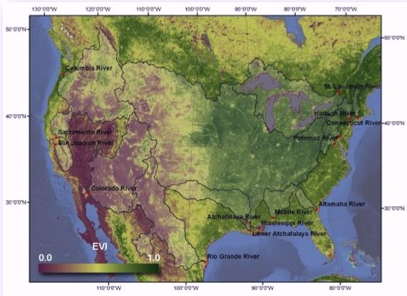 MODIS Enhanced Vegetation Index used to evaluate seasonality across terrestrial and aquatic ecosystems