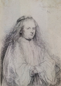 Rembrandt,  The Jewish Bride (Saskia as Saint Catherine) , 1638, etching on a paper. Purchase, Friends of Art, 10754.