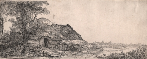 Rembrandt,  Landscape with a Cottage and a Large Tree , 1641, etching on laid paper. Gift of Mr. Cloud Wampler, 1963.0923. Image courtesy of Syracuse University Art Galleries.